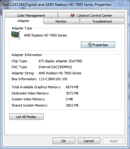 Windows 7 Display Property and HD7970 Catalyst Drivers - Press Launch edition based on Catalyst 11.12