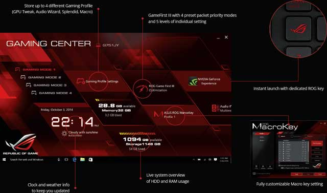 asus rog notebook gaming center software