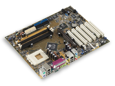 ASUS A7N8X mainboard - featuringthe NVIDIA nForce2 chipset and integrated dual networking from NVIDIA and 3Com Corp - 2003