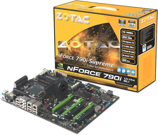 NVIDIA 790i Ultra SLI Motherboard, a contemporary enthusiast grade mainbord with integrated dual Gigabit Ethernet ports - 2008. Image Courtesy of Zotac International.