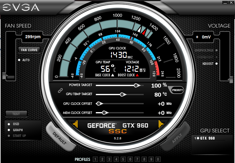 KBOOST mode - EVGA GTX 960 SSC at fixed 1430 MHz with EVGA Prescision X 16