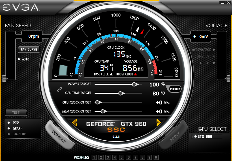 Idle Clocks with EVGA PrecisionX 16 - EVGA GTX 960 SSC