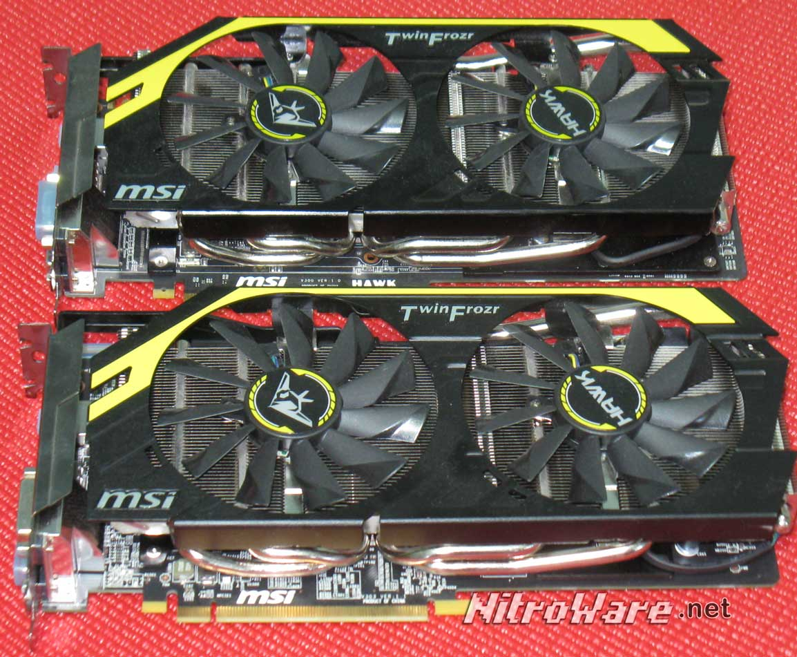 Top: MSI N760 HAWK Bottom: MSI R9 270X HAWK.