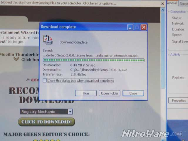 Mozilla Thunderbird download total time, using  a Telstra NextG 7.2 wireless connection